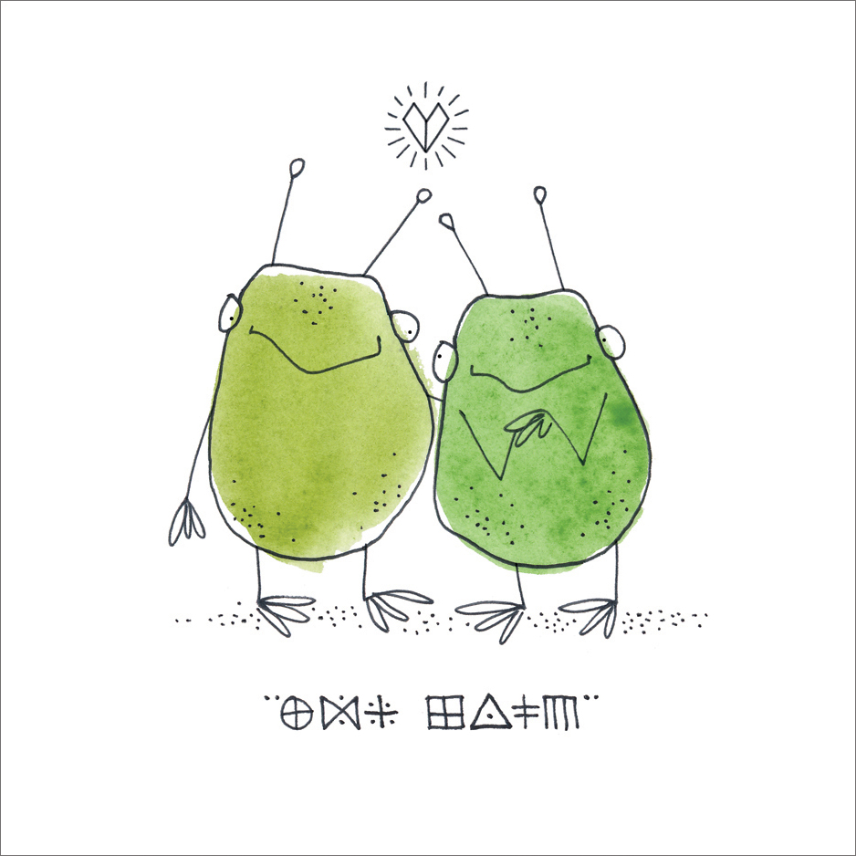 Aliens in Love  Mini Card Design Pen / Watercolor
