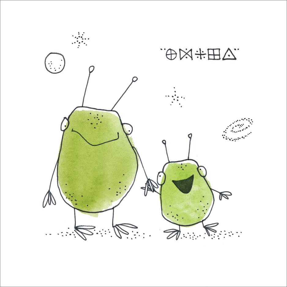 Alien Family  Mini Card Design Pen / Watercolor