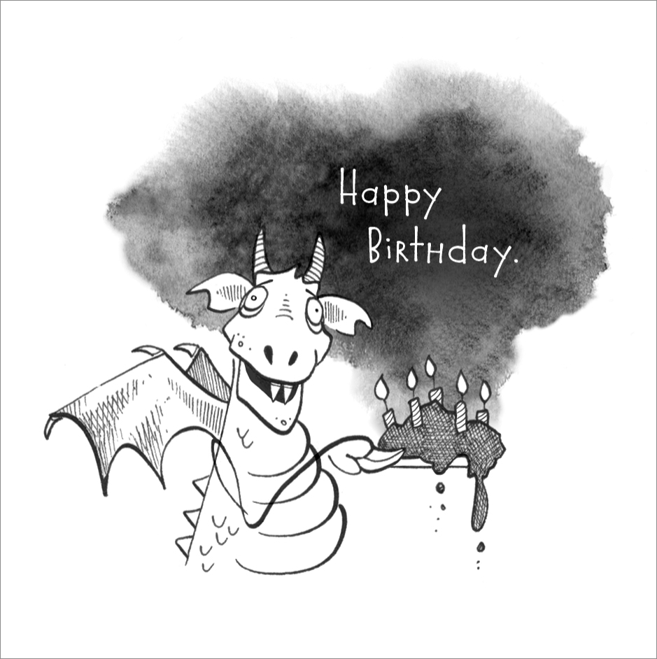 Happy Birthday.  Mini Card Design Pen / Ink
