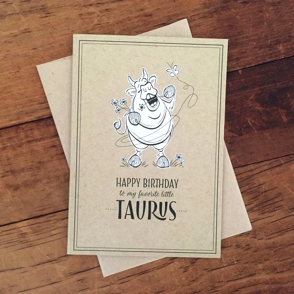 "Hedonistic Taurus birthday card (3.5x5"")"