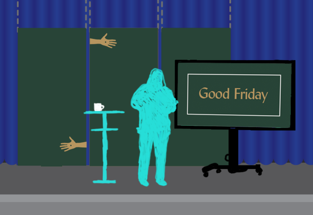 Figuring out scale for Good Friday on-stage / environmental graphics. (Not the final version.)