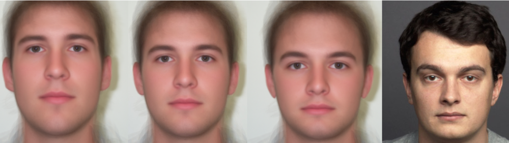 From left to right: 50% facially dissimilar, male composite, 50% facially similar, sample participant face.