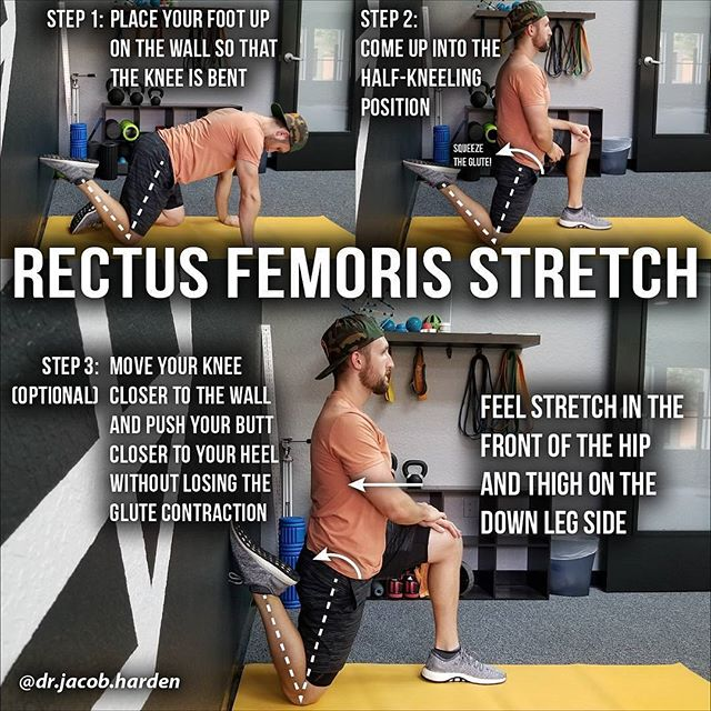 Repost from @dr.jacob.harden _______________  THE INFAMOUS COUCH STRETCH . ↔️This may be the most famous stretch of the last few years and it's a very effective hip flexor stretch. This one is a progression off the psoas stretch I showed you guys last week, and it targets the RECTUS FEMORIS. . The Rec Fem as I call it is a part of your quad group. It attaches to both the front of the hip and front of the knee. So while our psoas stretch had our knee at 90°, this one needs the knee bent into more flexion.✔ . Now, not everyone needs to have a ton of mobility in this muscle. Activities like jogging, lunging, and deadlifting don't require you to fully elongate the Rec Fem much past 90° of flexion. But if you want to 🏃♀️run faster/sprint, do backbends, or do Bulgarian (rear foot elevated) split squats, the mobility demand jumps up quite a bit and you need to make sure this guy is clear. . Key points: 🔹️Keep the down leg glute tight at all times 🔹️Start with the foot low on the wall. Otherwise you won't be able to drive into hip extension. 🔹️Progress up the wall as far as is necessary for your personal activities and training. . Tag a friend with tight hip flexors and share the wealth! . #Prehab101#theeclecticapproach#wellness #physicaltherapy #prehab #health #exercise #mobility #fitness #training #weightlifting #physicaltherapy #physicaltherapist #rehabilitation #recovery #sportsperformance #kinesiology #stretching #gym #lifting #athlete #bodybuilding #sports #mobilization #getpt1st #manualtherapy #dpt #doctorofphysicaltherapy #sportsrehab #quads