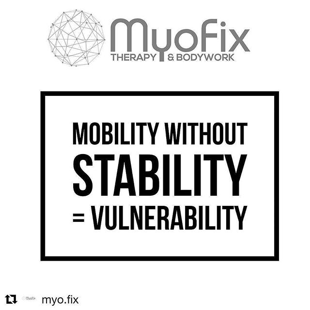 Repost from @myofixdoc _______________  Improving mobility or range of motion of a joint without assessing if the proper musculature is able to stabilize that joint can very quickly predispose you to injury during exercise, sport or activity. ____ Food for thought... ____ Agree? Share. | Diasagree? Let me know your thoughts. ____ #myofixtherapy #peakathletix #stability #mobility #muscle #injuryprevention #functionbetter #performbetter #livewell #movewell #health #wellness #Repost @myo.fix ・・・ #physicaltherapy #prehab #health  #exercise #mobility #fitness #training #weightlifting  #physicaltherapy #physicaltherapist #rehabilitation #recovery #sportsperformance #kinesiology #stretching