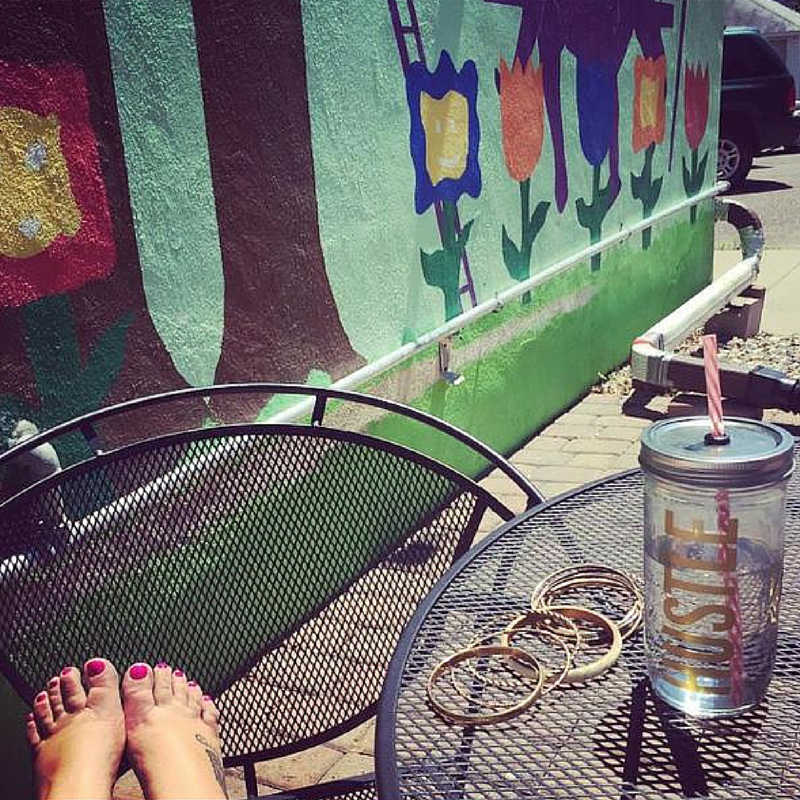 Bright toes and a tumbler from The Golden Girl Shop!