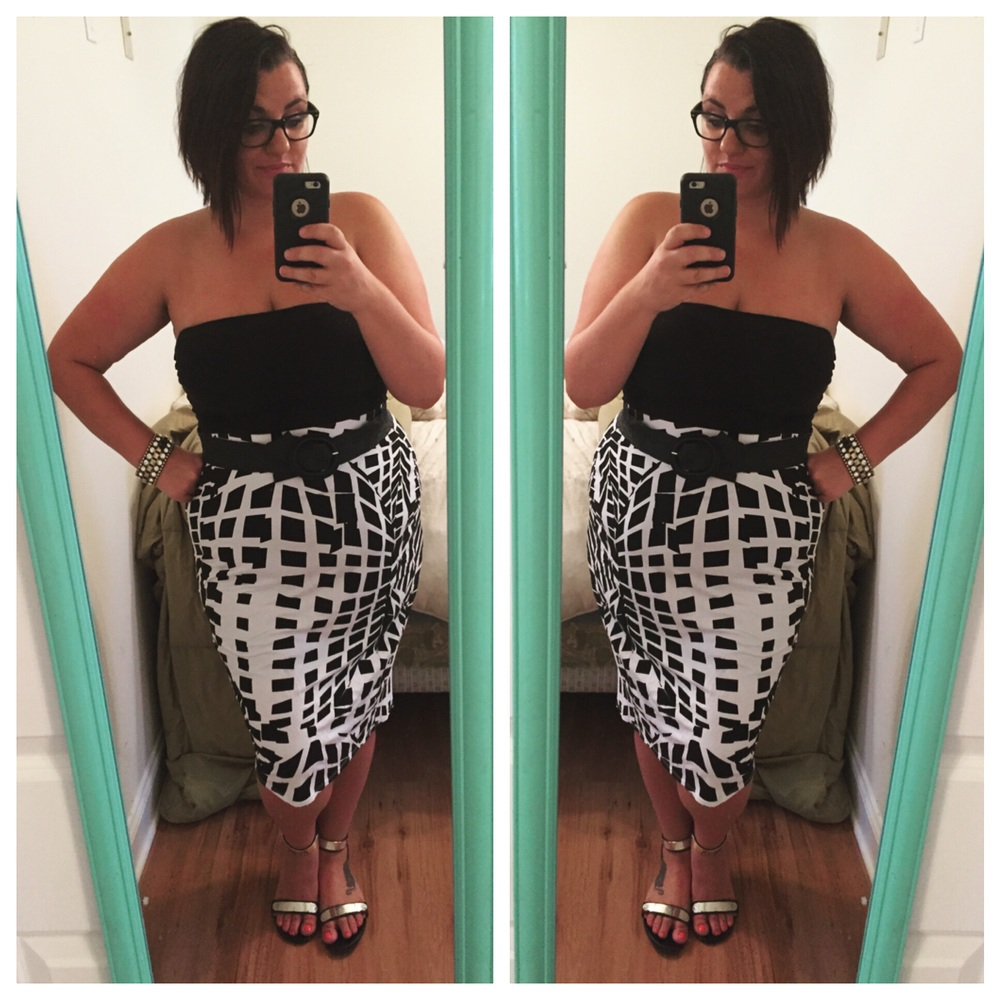 Asos curve pencil skirt found at a thrift shop. Belt found on super clearance at Lane Bryant.