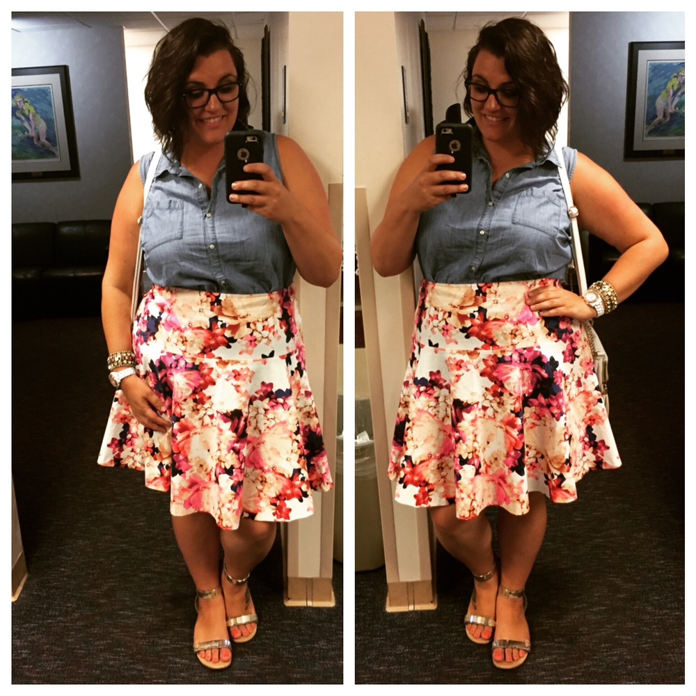 LOVING this floral skirt. Lane Bryant clearance rack find. You might still be able to find it? (I'm wearing a size 20.)