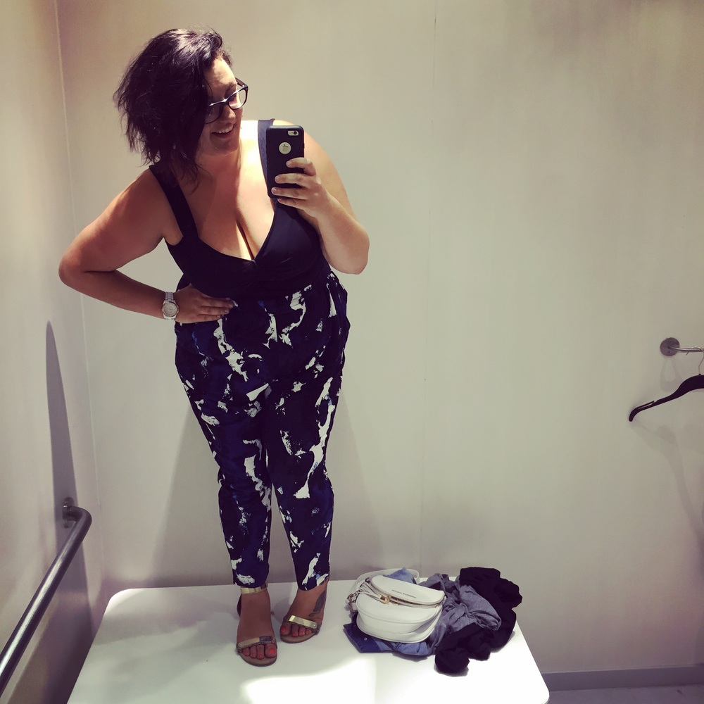 H&M is the best and the worst, y'all! It seems like every location has a plus-size section in utter disarray, but they do have some amazing pieces! Found these pants on super sale and love this top. I also recently bought some amazing shorts. . . full price - but cute enough to justify it.  (So, extremely cute!) Oh, yeah - I am standing on the bench in order to get my whole bod in this selfie!