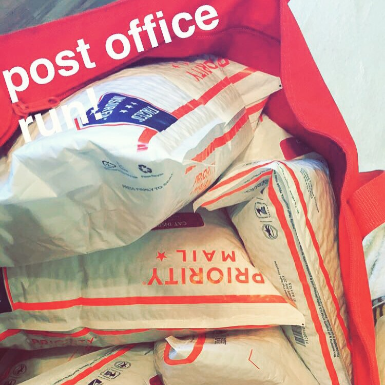 Lots of trips to the post office. Although I love chatting with my post office ladies, soon I'll be printing labels and doing most of the shipments from home (and simply dropping off at the post office).