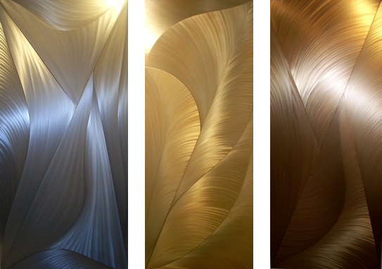 "Light Trap Series 1, 2, 3   2009   60"" x 24"" x 2"" each   welded & polished aluminum burnished with oil"