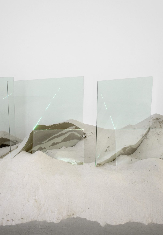 "Untitled (detail)    1971   60"" x 80"" x 192""   Glass, sand, argon"
