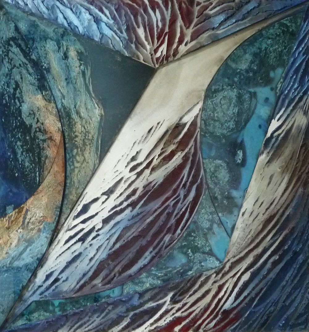 "Sea of Cortez   2014  60"" x 60"" x 2""  Tempered glass, ground minerals & oxides on Marine Ply"