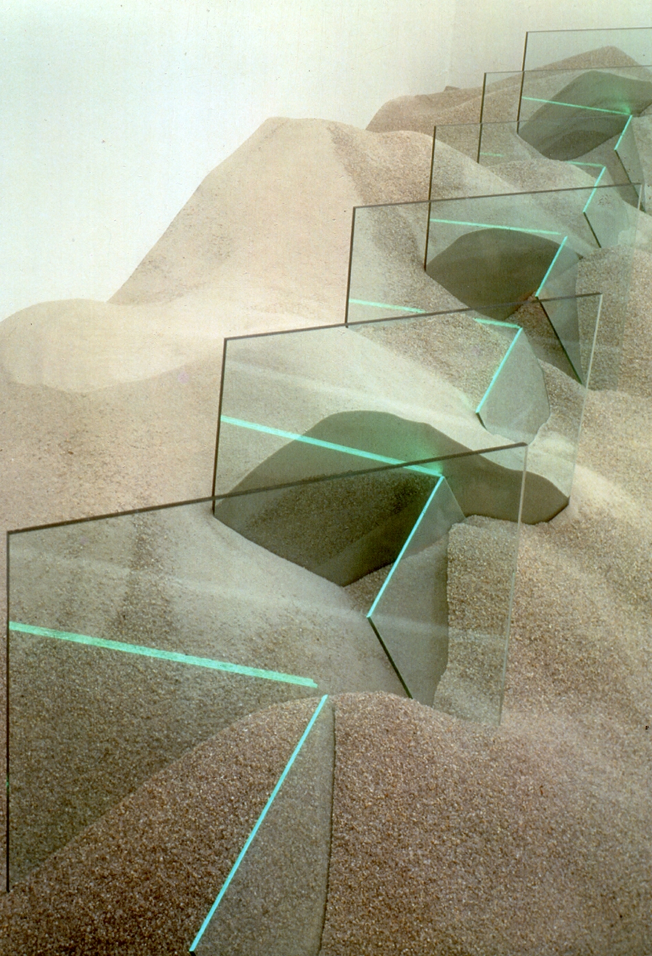 Untitled   1971  Sand, glass, argon  Size relative to environment  Collection of Laguna Museum, Estate of Illeana Sonnabend