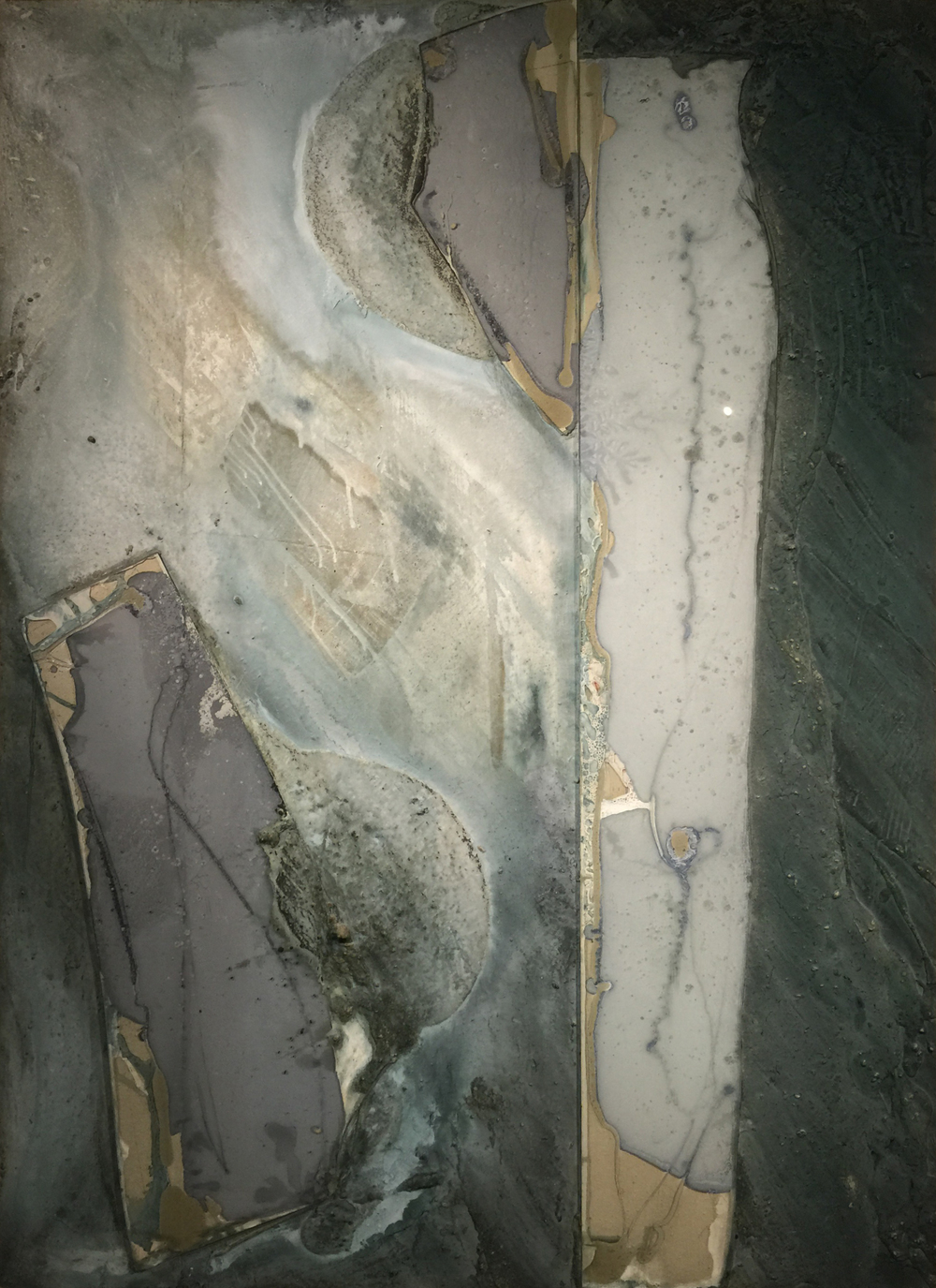 "Untitled    1997   84"" x 60""   Cement, tempered glass, ground minerals & oxides"