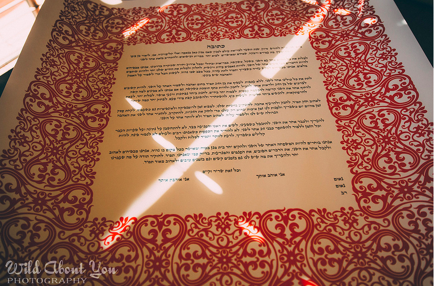the wedding couple typed their ketubah text, using a calligraphy-style font, then printed it onto purchased paper with a border design they liked.