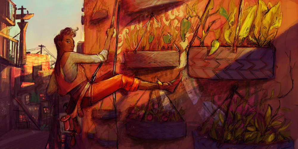 Early concept work of Runa gardening outside of the Community Dorms.