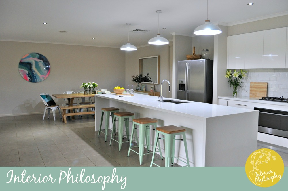 AFTER: Light and bright kitchen reflective of Narelle's personal style for her to enjoy with family and friends.