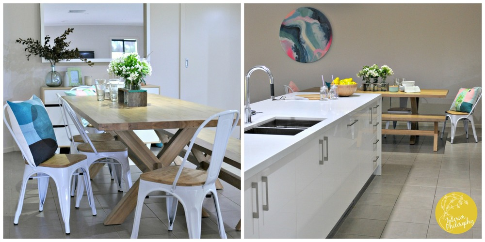 LEFT: Table featuring both a bench seat and Replica Tolix Chairs with timber seats. RIGHT: Bespoke art by JamJam Art.