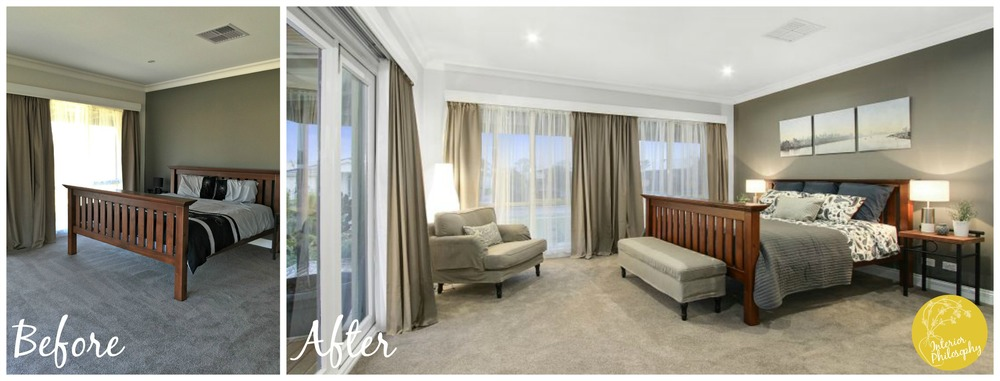 The addition of a chair and bench seat shows the generous proportions of this room.  Gender neutral bedding in calm colours created a luxurious space to attract people with a wide range of tastes.