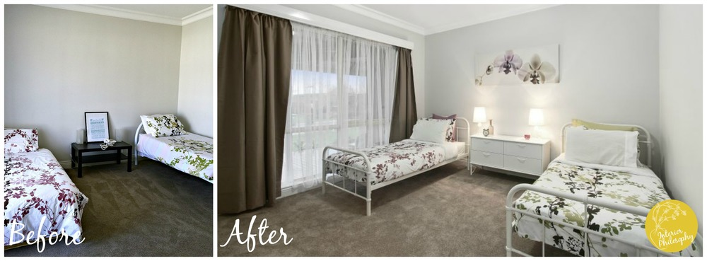 Changing the bed frames in bedroom 4 so that they matched, and adding a chest of drawers, art, lamps, pillows and decor items really lifted this room and made it feel more put together, loved and inviting.