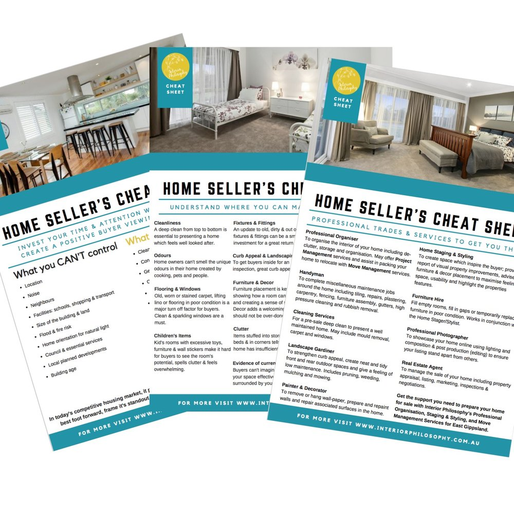 CHEAT SHEET Home Sellers Home Staging