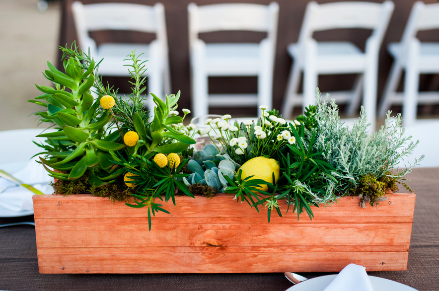 Window boxes made the perfect centerpieces for 19 tables.
