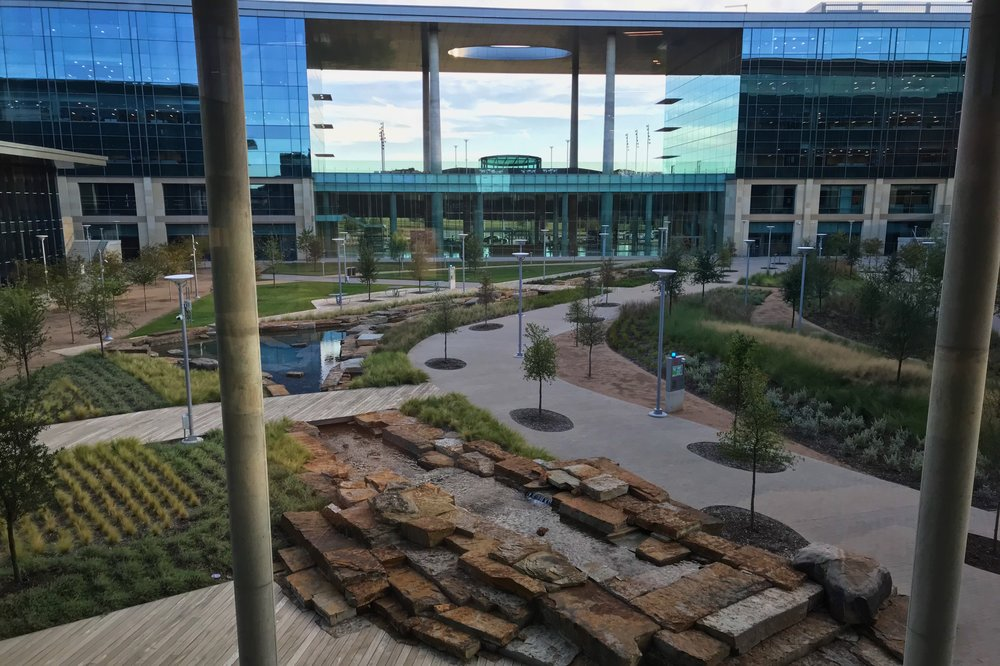 Courtyard view from the dining area, opposite the entrance lobby.