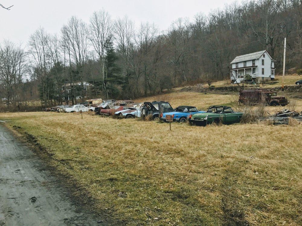 a junkyard along the way