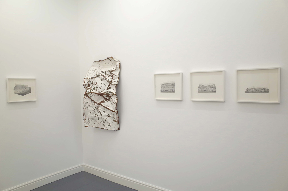 Jessie Brennan_A Brutal Story 2014_Steel acrylic paint and rust_117 x 67 x 31 cm_Study for Progress II_III_IV and V_2014_graphite on paper_41 x 34 cm_installation view_dalla Rosa gallery.jpg