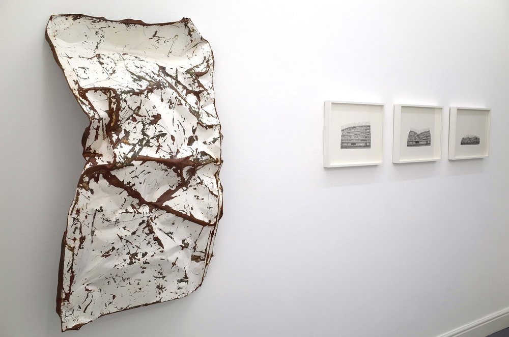 Jessie Brennan_A Brutal Story 2014_Steel acrylic paint and rust_117 x 67 x 31 cm_Study for Progress II_III_and IV_2014_graphite on paper_41 x 34 cm_installation view_dalla Rosa gallery.jpg