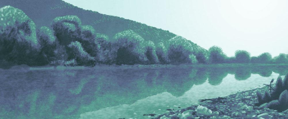 De vervuilde rivier de Drina, waar het door Bosniërs gedumpte afval stroomafwaarts bij Serviërs terecht komt.