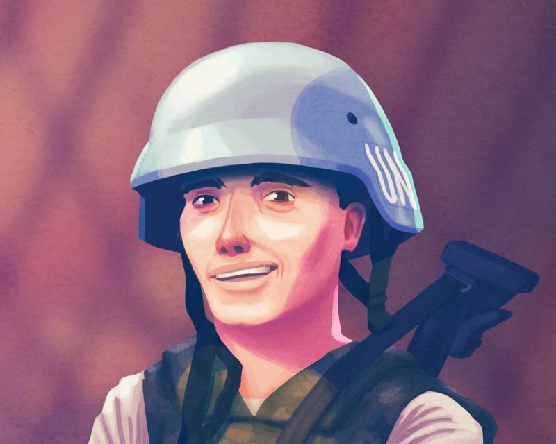 Een soldaat van Dutchbat, onderdeel van de VN vredesmissie.