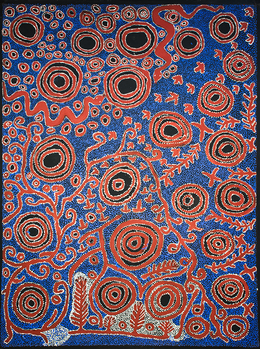 Sélection pour Knocke. Œuvre magistrale collaborative des artistes Aborigènes masculins du Spinifex Art Project. Format : 176 x 129 cm. Provenance et certificat :  © Spinifex Art Project.