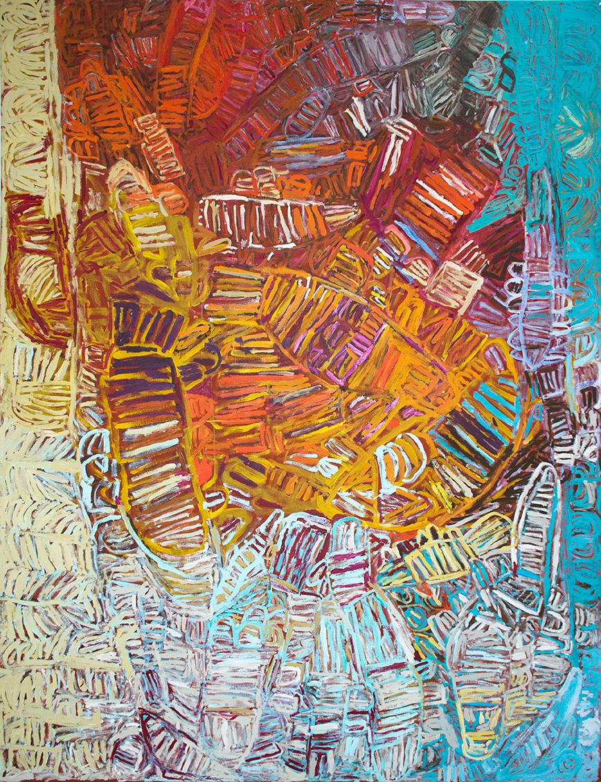 Sélection pour Knocke.  Artiste : Sonia Kurarra. Titre : Martuwarra. Format : 180 x 240 cm. Provenance et certificat : © Centre d'art de Mangkaja.