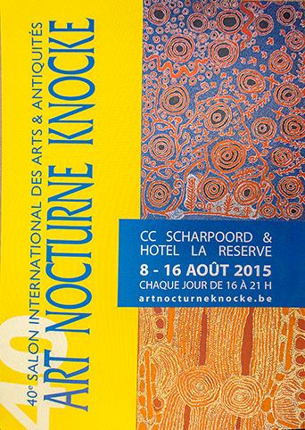 Deux œuvres d'art Aborigène présentées à Knokke : en haut une peinture Aborigène du Spinifex Art Project, en bas une toile Aborigène de l'artiste Ningura Napurrula de Papunya Tula Arts.