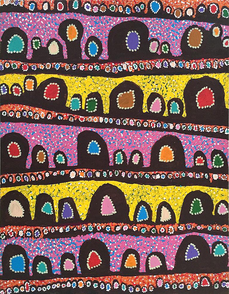 Œuvre présentée dans le cadre de l'exposition Kaléidoscope millénaire.                                  Titre : Alkipi. Artiste : Linda Ngitkanka Napurrula. Format : 153 x 122 cm. © Ikuntji Artists. En savoir plus.
