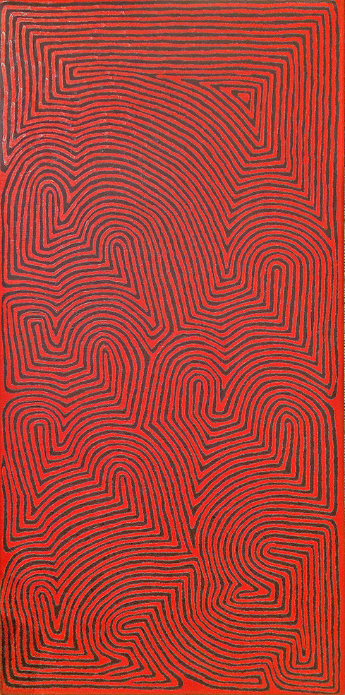 Ronnie Tjampitjinpa, Water site of Pinari , 122 x 61 cm. © with courtesy of the artist & Papunya Tula