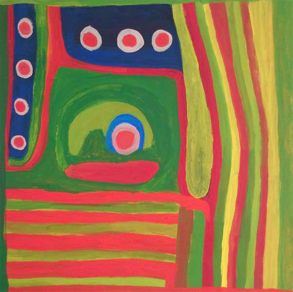 Toile de l'artiste Dolly Snell. Titre : Kurtal. Format 120 x 90 cm. © Photo : Aboriginal Signature, with the courtesy of the artist and Mangkaja Art centre.