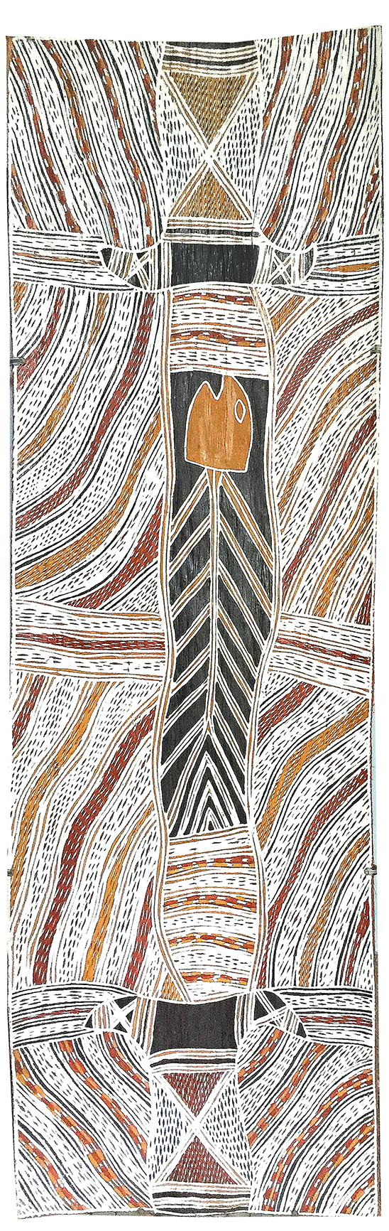 Artiste : Galuma Maymuru. Format : 101 x 31 cm. Piments naturels sur écorce d'eucalyptus. © Photo : Aboriginal Signature, with the courtesy of Yirrkala Buku Larrngay Mulka.