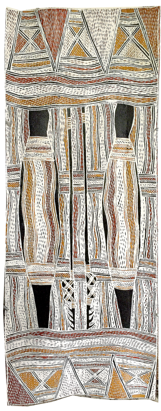 Artiste : Galuma Maymuru. Format : 96 x 34 cm. Piments naturels sur écorce d'eucalyptus. © Photo : Aboriginal Signature, with the courtesy of Yirrkala Buku Larrngay Mulka.