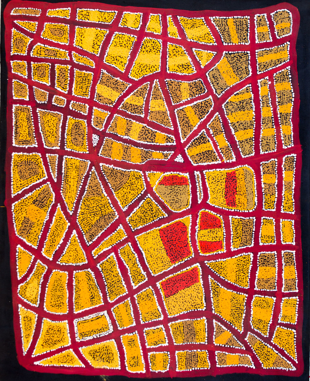 Œuvre de Ian Rictor. Format : 137 x 110 cm. Titre : Kanmati. © Photo : Aboriginal Signature, with courtesy of the Spinifex Art Project.