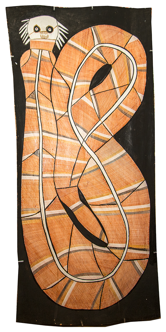 John Mawurndjul. Format : 114x50cm Titre : Ngalyod (Rainbow Serpent). © with the courtesy of Maningrida Arts.