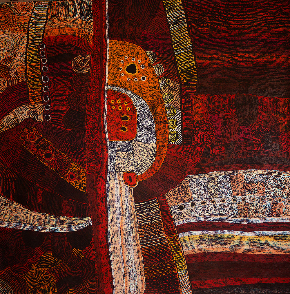 Peinture acrylique sur toile de l'artiste Maringka Baker. Format : 200 x 200 cm. Provenance : centre d'art de Tjungu Palya. Photo : Aboriginal Signature gallery with the courtesy of the artist.