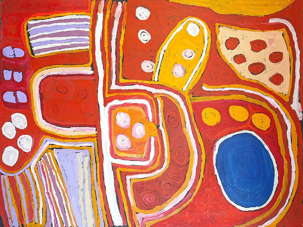 Peinture Aborigène de l'artiste Nellie Stewart de Tjungu Palya. Titre : Minyma Kutjara Tjukurpa Dreaming Time story. Format : 200 x 147 cm. Minyma Kutjara Tjukurpa (the creation story of the two sisters). The big sister was travelling with her younger sister back to their homeland. The li􀆩le sister was reluctant to head further and further north as she had been living with a different family near the ocean to the south. She had been lost a long time and didn't know this country the big sister was showing her. © Photo Aboriginal Signature • Estrangin gallery, with the courtesy of the artists and Tjungu Palya Arts.
