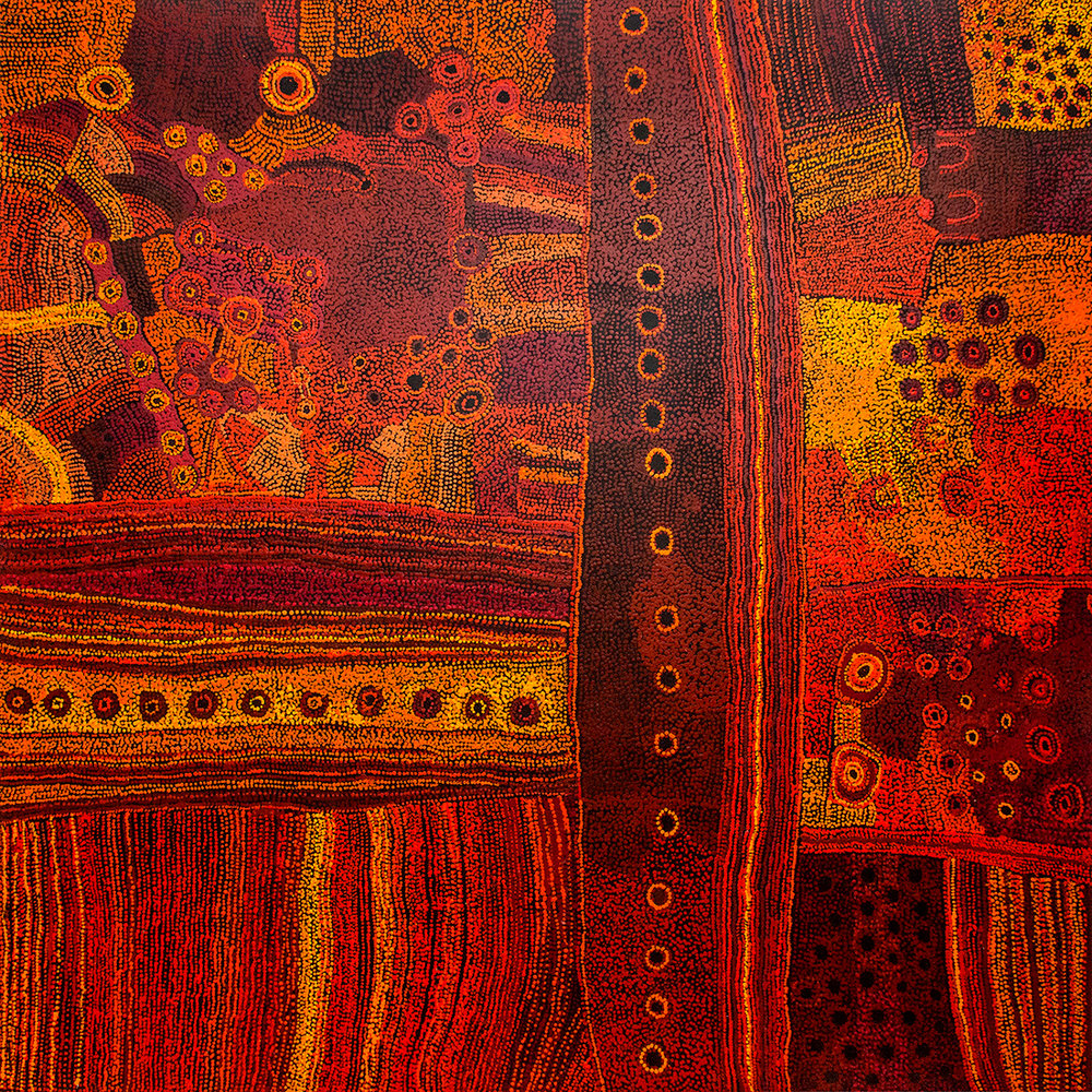 Peinture d'art Aborigène de l'artiste Maringka Baker. Titre : Minyma Kutjara Tjukurpa. Format : 200 x 200 cm. Acrylique sur toile. © Photo : Aboriginal Signature gallery, with the courtesy of the artist and Tjungu Palya Arts