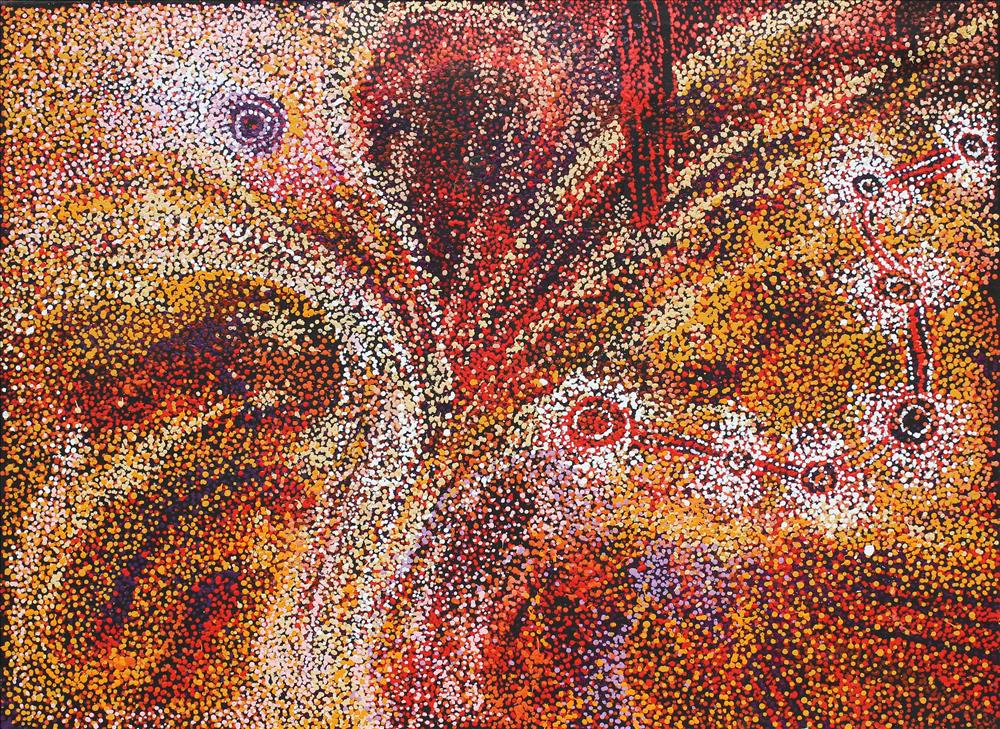 Artiste : Jennifer Ingkatji. Titre : Ngayuku ngura - My Country 2017. Provenance : Tjala art center, APY lands, Australie. 122 x 90 cm © Aboriginal Signature gallery, with courtesy the artist and Tjala Art.