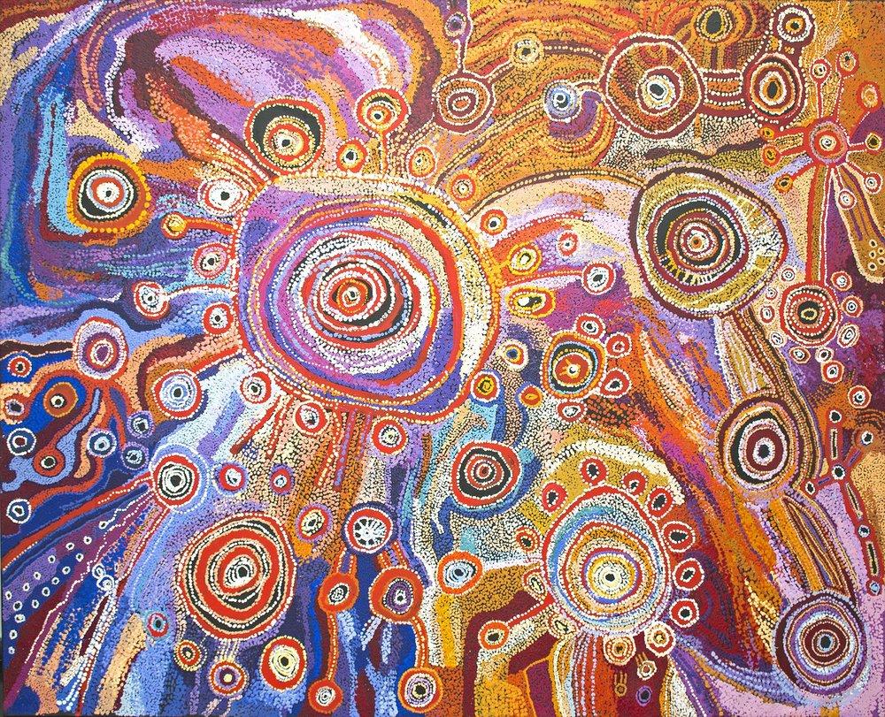 Œuvre collaborative féminine magistrale de Tjala. Format : 250 x 200 cm. © Aboriginal Signature • Estrangin gallery, avec l'autorisation des artistes et de Tjala Art Centre.