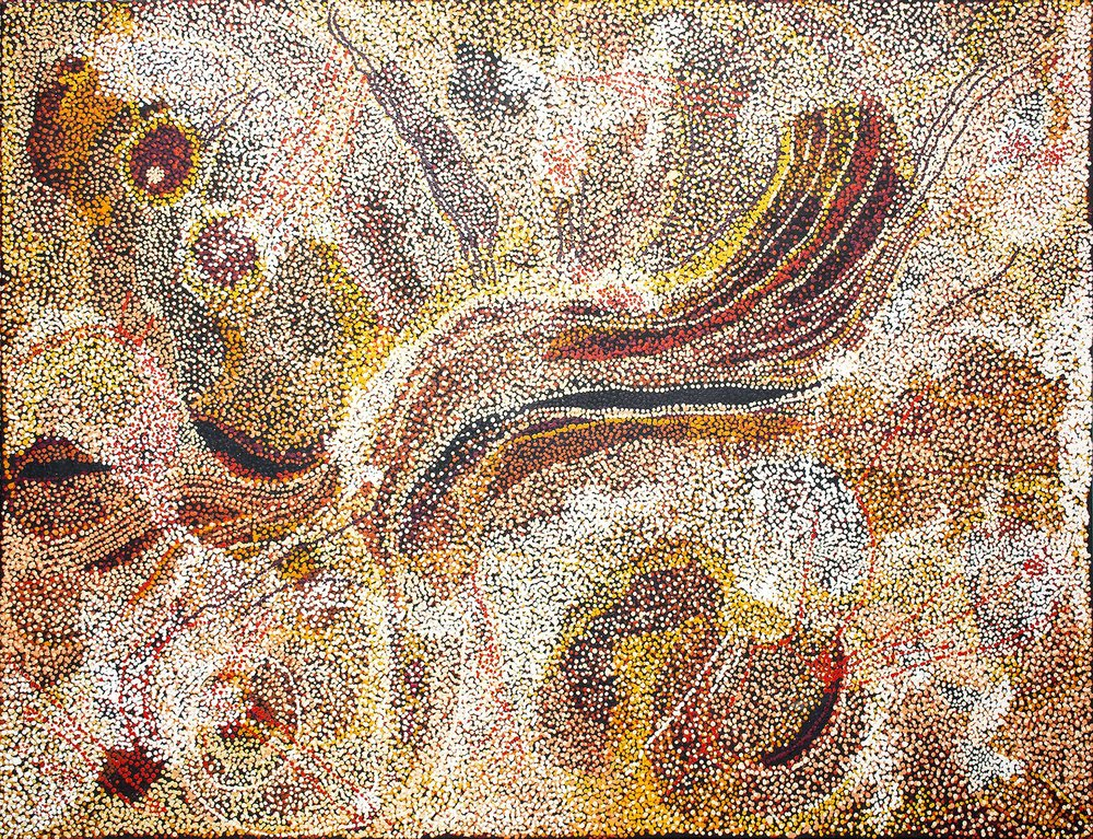 Œuvre de Nyunmiti Burton (1964). Titre : Ngayuku ngura - My Country. Format : 198 x 152,5 cm. © Aboriginal Signature • Estrangin gallery, avec l'autorisation des artistes et de Tjala Art Centre.