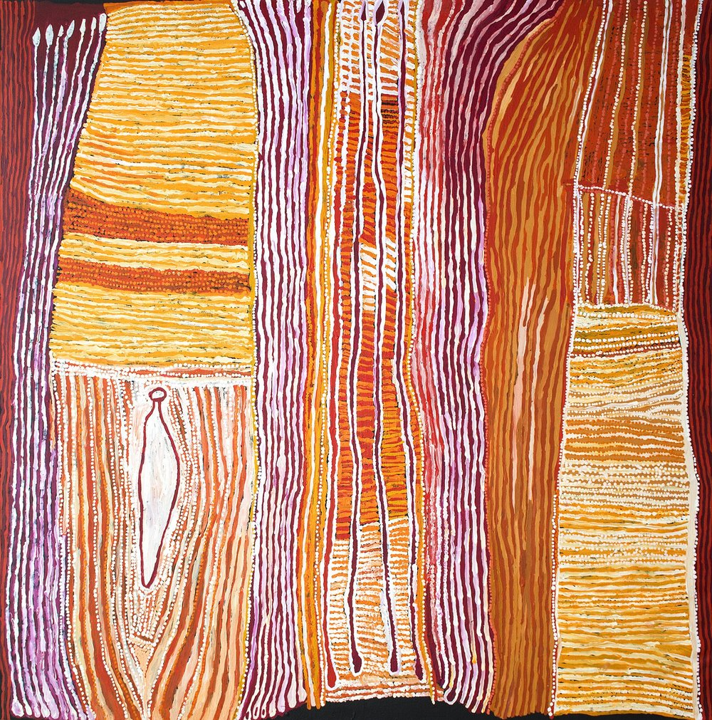Œuvre magistrale de l'artiste Ray Ken de Tjala Arts. Titre : Kulata Tjuta and Sand hills. Format : 200 x 200 cm. © Photo Aboriginal Signature Estrangin gallery with the courtesy of the artist and Tjala Arts.