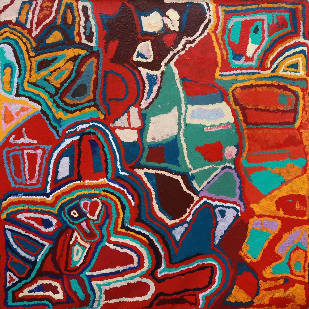 Peinture Aborigène de l'artiste Mabel Wakarta. Titre : Yirajarra country. Format : 183 x 183 cm. © Photo Aboriginal Signature Estrangin with the courtesy of Martumili Artists